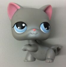 Littlest Pet Shop #74 Gray Shorthair Kitty Cat Teal Eyes Grey LPS 2004 Kitten