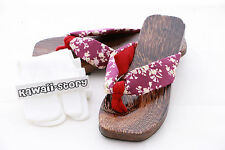 K-G-08-1 Geta purple Japanese Wood Sandal Socks for Kimono Yukata 9 3/5in/