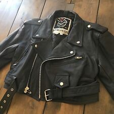 Vintage 1980's Contempo Casuals Black Leather Motorcycle Jacket Size S