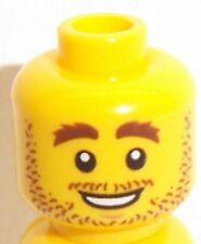 Lego Yellow Head x 1 Stubble, Brown Eyebrows & Smile for Minifigure