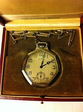 Rare Illinois A. Lincoln Antique Art Deco Seven Sided Pocket Watch