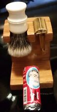 Cherry Wood Stand for 1 Safety Razor 1 Shaving Brush Made in USA Free Arko Soap!