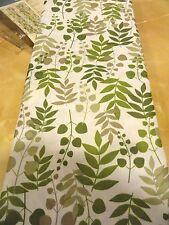 new Green White~Tan~Greenery Fabric SHOWER CURTAIN~Vining Leaves~LEAF~Fern