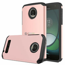 Slim Rugged Rubber Impact Hard Armor Case Cover For Motorola Moto Z Play / Droid