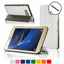 Leather White Folding Smart Case Cover Cover Samsung Galaxy Tab J / J Max Stylus