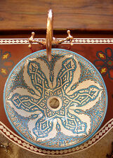 Large Moroccan hand painted turquoise round sink wash basin vasque + cracks