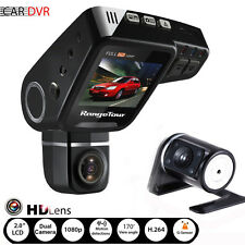 "FHD 1080P 2"" Car DVR Dual Lens Dash Cam G-sensor Recorder + Night Vision Camera"