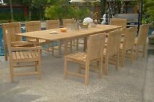 11pc Grade-A Teak Dining Set: 117 Rectangle Table Devon Chairs Outdoor Garden