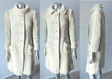 Crochet Knit Wool VTG 50s 60s Trapeze Princess Buttons Boho Hippie Retro Coat