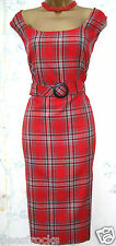 SIZE 8 10 50'S STYLE WIGGLE GLAMOUR DRESS RED TARTAN CHECK SHIFT # US 6  EU 38