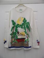 White Tropical Scene Sweater from Quacker Factory - Size M - NWT