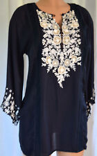 OSCAR DE LA RENTA Embroidered NAVY Blue Silk 3/4 Sleeves Blouse Top Size S