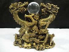 Chinese Lucky Feng Shui Brass Tone Dragon Year Figurine Statue Big with Ball