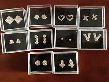 JOB LOT-10 pairs of 10 different styles  gift boxed diamonte stud earrings.
