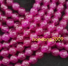 Natural 8mm Faceted Rose Agate Round  Gemstone Beads 15""