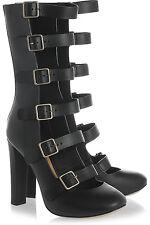 CHLOÉ Multi-strap Black Leather Pumps Boots Size 40.5 U.S 10.5 EUC