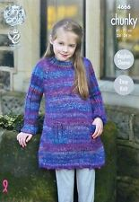 KNITTING PATTERN Girls Easy Knit Long Sleeve Dress/Tunic Chunky 4666 King Cole