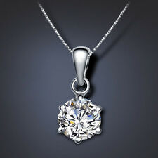 925 Sterling Silver Crystal Chain Necklace Silver Pendant Girl Fashion Jewelry