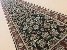 """2'.7"""" X 18'.0"""" Black Red Agra Persian Oriental Rug Long Runner Hand Knotted"""
