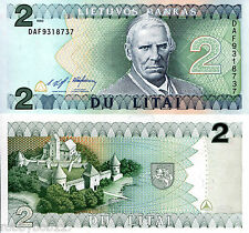 LITHUANIA 2 Litas Banknote World Paper Money UNC Currency Pick p-54 Castle Bill