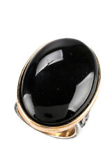 NEW AMY KAHN RUSSELL 14KT Gold Plated Bronze Onyx Statement Ring Sz 6.75