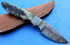 Damascus Knife Custom Handmade - 8 INCHES - Ram Horn Handle Skinner - SAN MAI