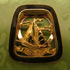 Gold tone and black scarf clip Nautical theme  Sailboat