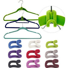 10PCS Save Space Clothes Organize Helper Flocking Conector Hanger Holder Hook