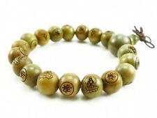 Fragrant Tibetan 18 12mm Green Sandalwood Buddha Prayer Beads Mala Bracelet -7""