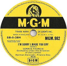 "CONNIE FRANCIS 78 "" I'M SORRY I MADE YOU CRY /LOCK UP YOUR HEART"" UK MGM 982 EX-"