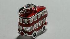 3D Mini Doppeldecker Bus London Auto Anhänger Charm 925er Silber Emaille rot NEU