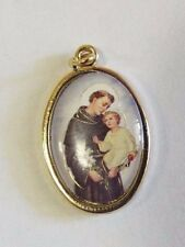 Saint Anthony of Padua Color Oval Goldtone Medal, from Italy, New