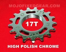 MOJO 17T FIXED GEAR COG - CHROME Cro-Mo TRACK 17 TOOTH 1/8 INCH CNC