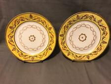 Pair of 18th Century Old Paris Porcelain Yellow Rim w Rococo Decor Plates Rare