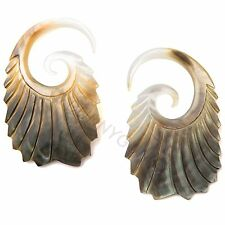 6G Pair Black & Gold Mother of Pearl Double Feathered Gauged Earrings 6 gauge