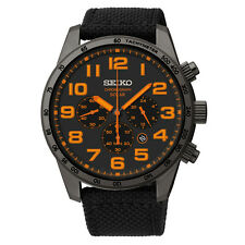 New Seiko SSC233 Solar Black Ion Nylon Strap Chronograph Men's Watch