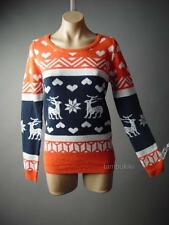 Deer Reindeer Heart Snowflake Fair Isle Pattern Intarsia Jumper 107 ac Sweater L