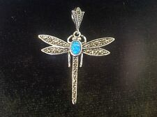 Solid Silver marcasite Blue Gilson Fire opal Firefly Dragonfly Pendant Deco