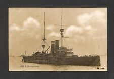 REAL-PHOTO POSTCARD:  H.M.S. BRITANNIA - BRITISH NAVY WW-1 BATTLESHIP - Mailed