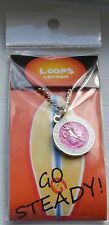 "Saint Christopher ""Surfing"" Medal w/ 33"" Chain. Pink w/White Trim.  25mm size."