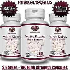 White Kidney Bean Extract 100% Pure 3500mg Carb Blocker Low Carb Diet Pills x 3b