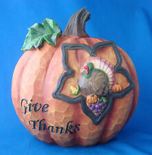 """faux carved wood Thanksgiving pumpkin turkey icon Give Thanks 10½"""""""