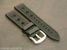 Cinturino Silicone Novità Modello Racing Nero Fibbia Acciaio Silicon Strap