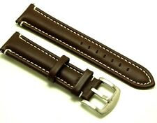22mm Drak Brown Leather Contrast Stitch Replacement Watch Strap - Citizen 22