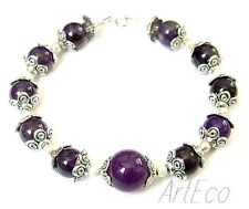 Amethyst - 925 Sterling Silver Bracelet with round purple gemstone, 8 inches