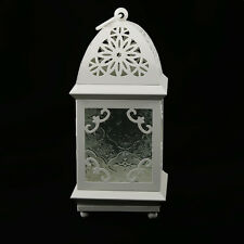 Vintage Lantern Candle Holder Glass Lid Garden Tea Light Hanging Decor White