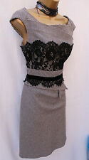 KAREN MILLEN Tailored Grey Wool Hounds-Tooth Check Lace Trim Galaxy DRESS 16-14