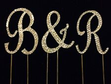 Small GOLD Rhinestone Covered Monogram Initial Letter Wedding Cake Topper Set