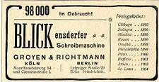 Groyen & Richtmann Köln 98 tsd.Blickensderfer Schreibmaschinen preisgekrönt 1905