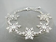 Silver Snowflake Bracelet Rhinestone Center Fashion Jewelry NEW